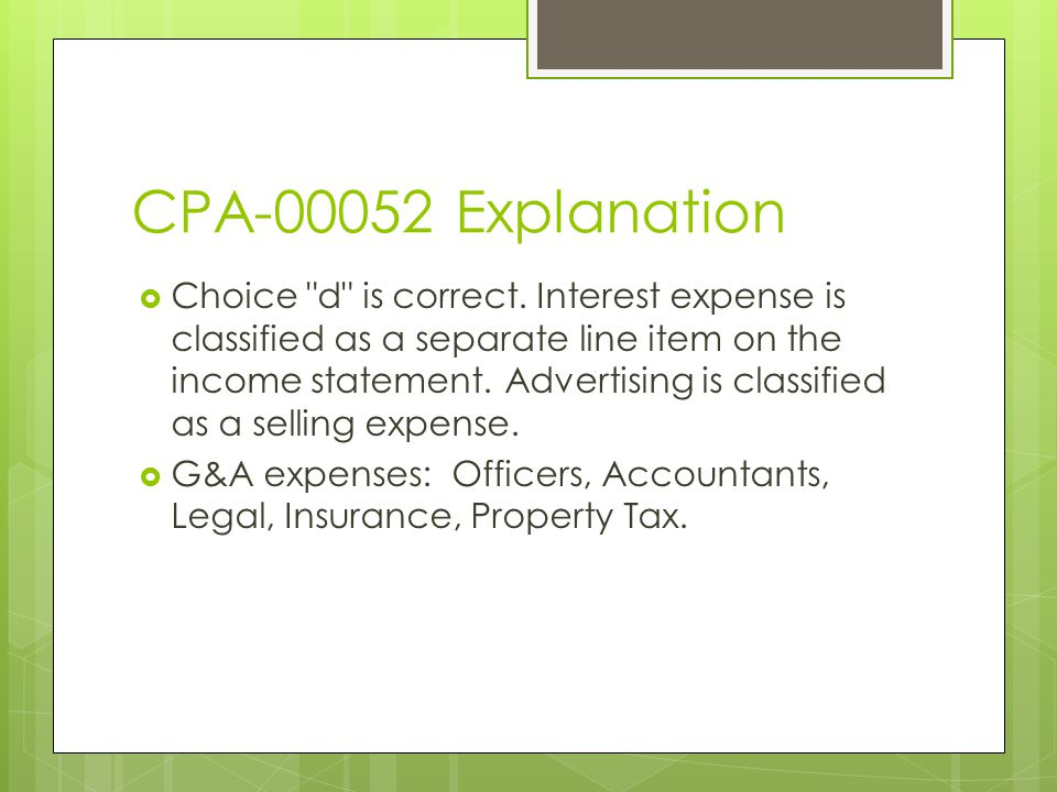 CPA-00052 Explanation  Choice