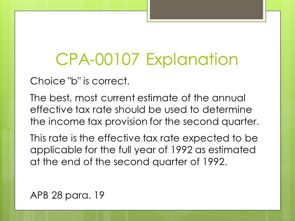 CPA-00107 Explanation Choice