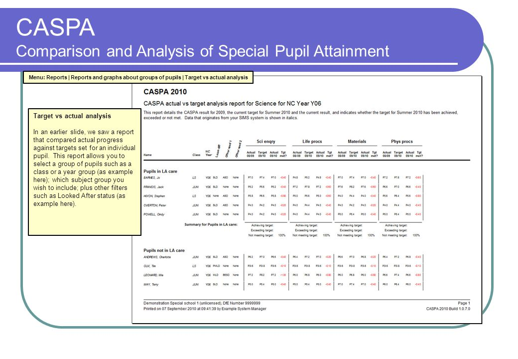 CASPA Comparison and Analysis of Special Pupil Attainment Target vs actual analysis In an earlier slide, we saw a report that compared actual progress against targets set for an individual pupil.