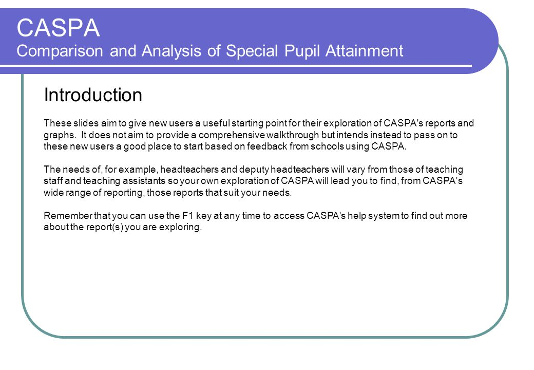 Menu: Data | Caspa assessment data.
