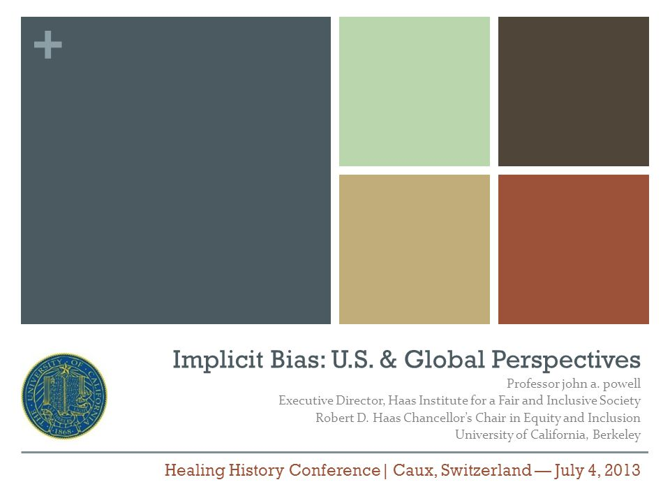 + Implicit Bias: U.S. & Global Perspectives Professor john a.