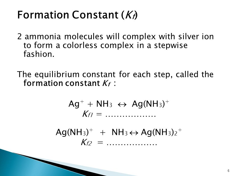 Formation Constant (K f ) 2 ammonia molecules will complex with silver ion to form a colorless complex in a stepwise fashion.