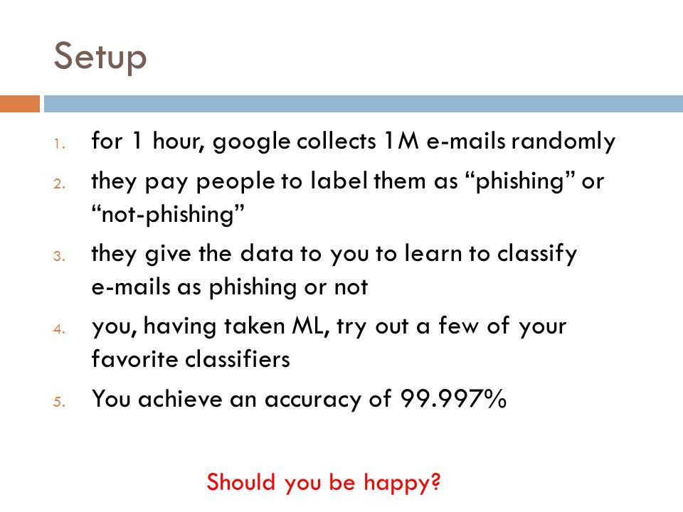 Setup 1.for 1 hour, google collects 1M e-mails randomly 2.