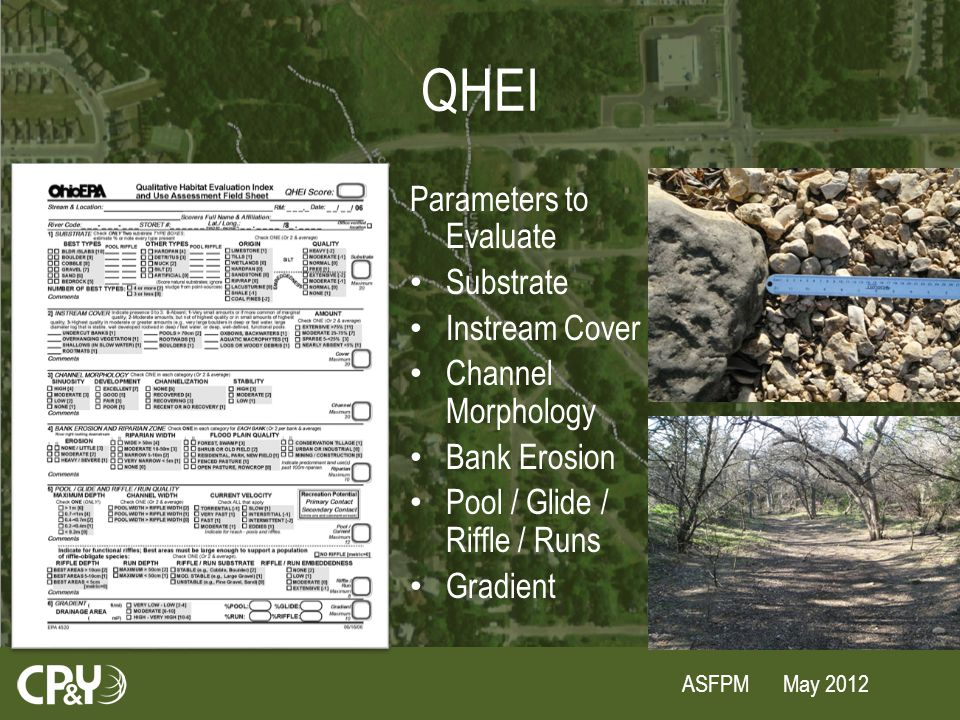 ASFPM May 2012 QHEI Parameters to Evaluate Substrate Instream Cover Channel Morphology Bank Erosion Pool / Glide / Riffle / Runs Gradient