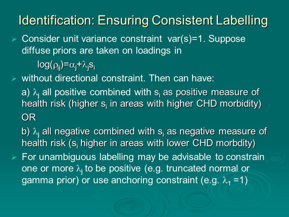 Identification: Ensuring Consistent Labelling   Consider unit variance constraint var(s)=1.