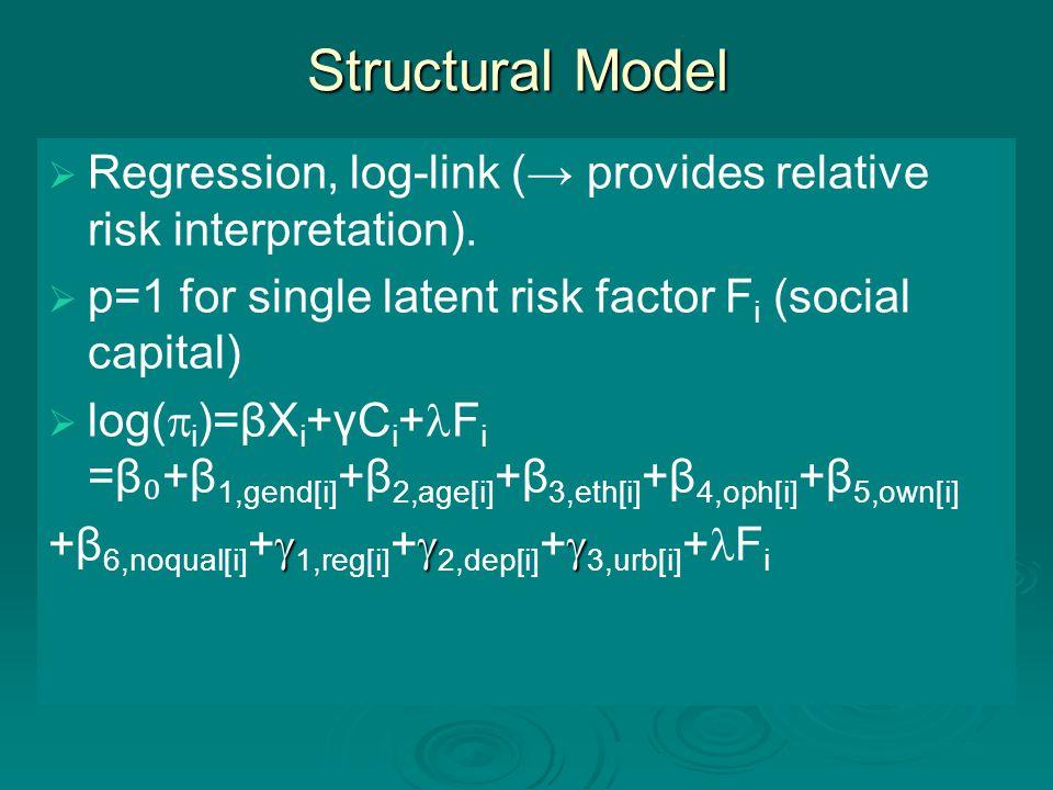 Structural Model   Regression, log-link (→ provides relative risk interpretation).