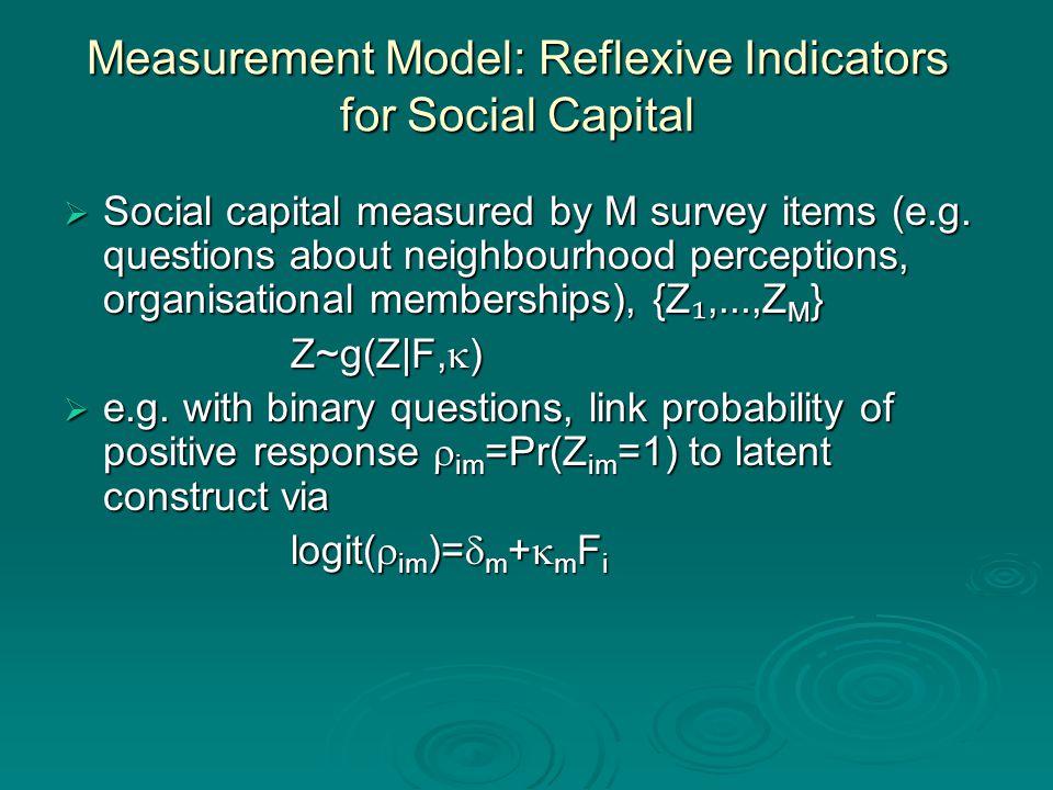 Measurement Model: Reflexive Indicators for Social Capital  Social capital measured by M survey items (e.g.