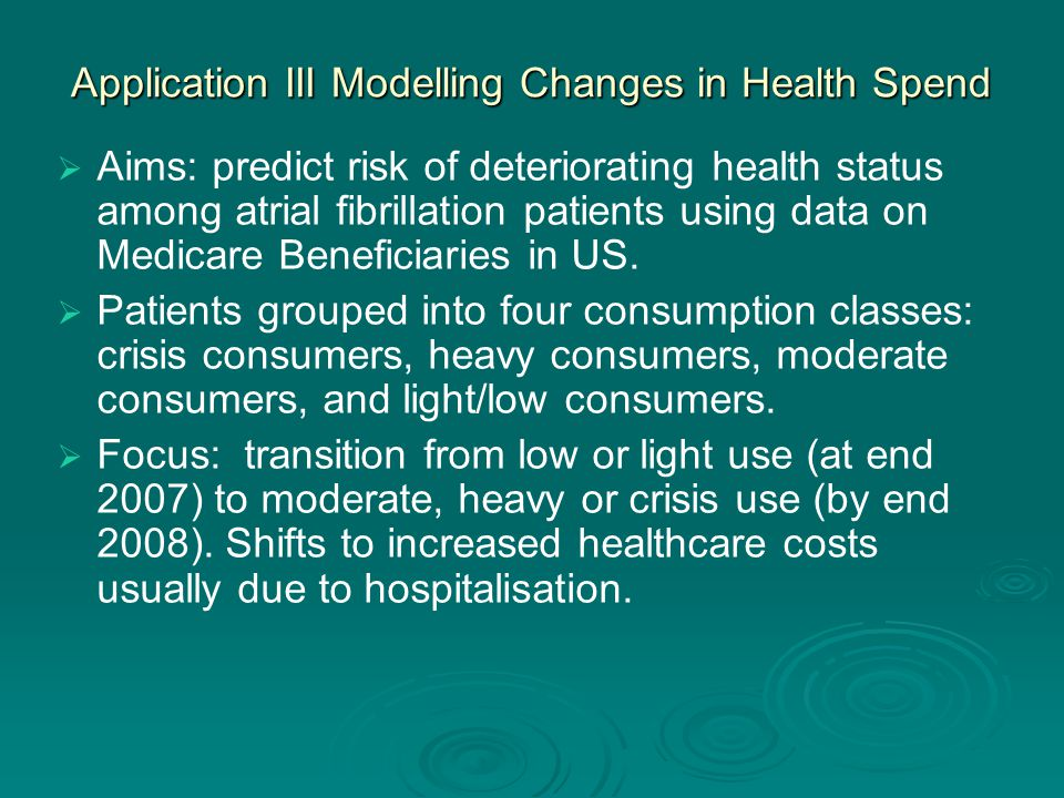 Application III Modelling Changes in Health Spend   Aims: predict risk of deteriorating health status among atrial fibrillation patients using data