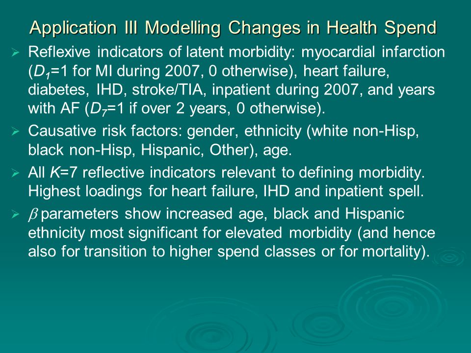 Application III Modelling Changes in Health Spend   Reflexive indicators of latent morbidity: myocardial infarction (D 1 =1 for MI during 2007, 0 otherwise), heart failure, diabetes, IHD, stroke/TIA, inpatient during 2007, and years with AF (D 7 =1 if over 2 years, 0 otherwise).