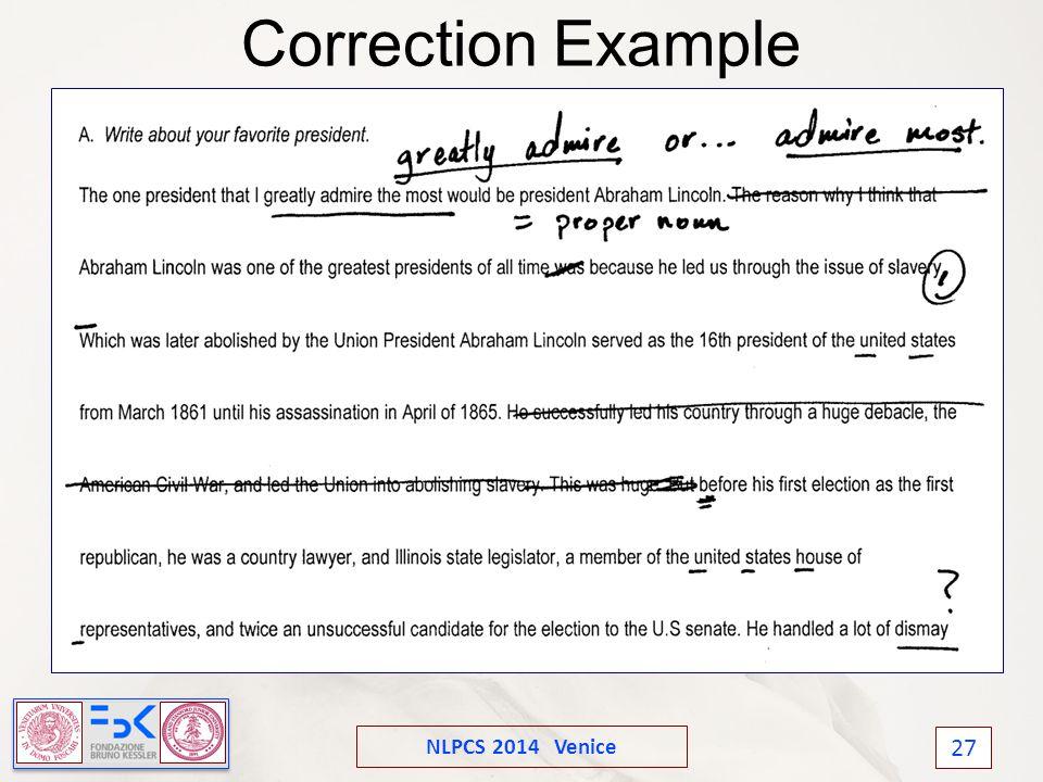 NLPCS 2014 Venice 27 Correction Example