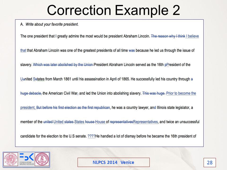 NLPCS 2014 Venice 28 Correction Example 2