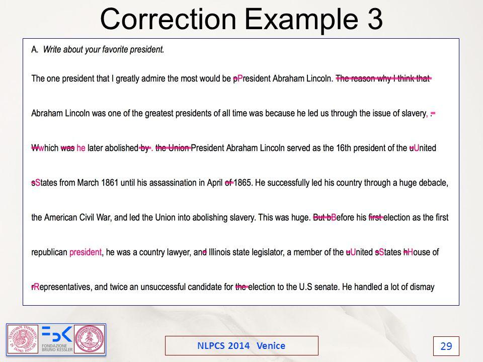 NLPCS 2014 Venice 29 Correction Example 3