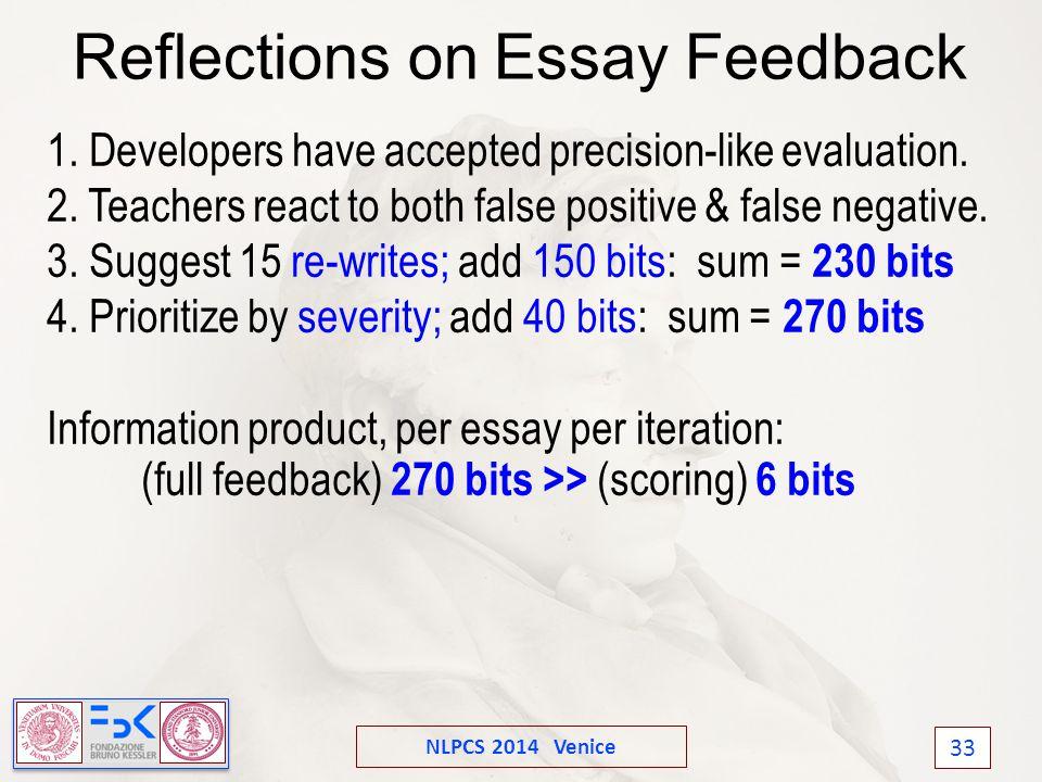 NLPCS 2014 Venice 33 Reflections on Essay Feedback 1.