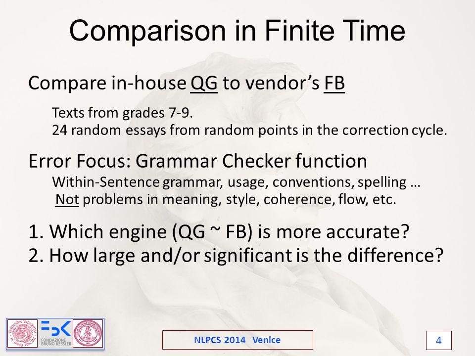 NLPCS 2014 Venice 4 Comparison in Finite Time Compare in-house QG to vendor's FB Texts from grades 7-9.