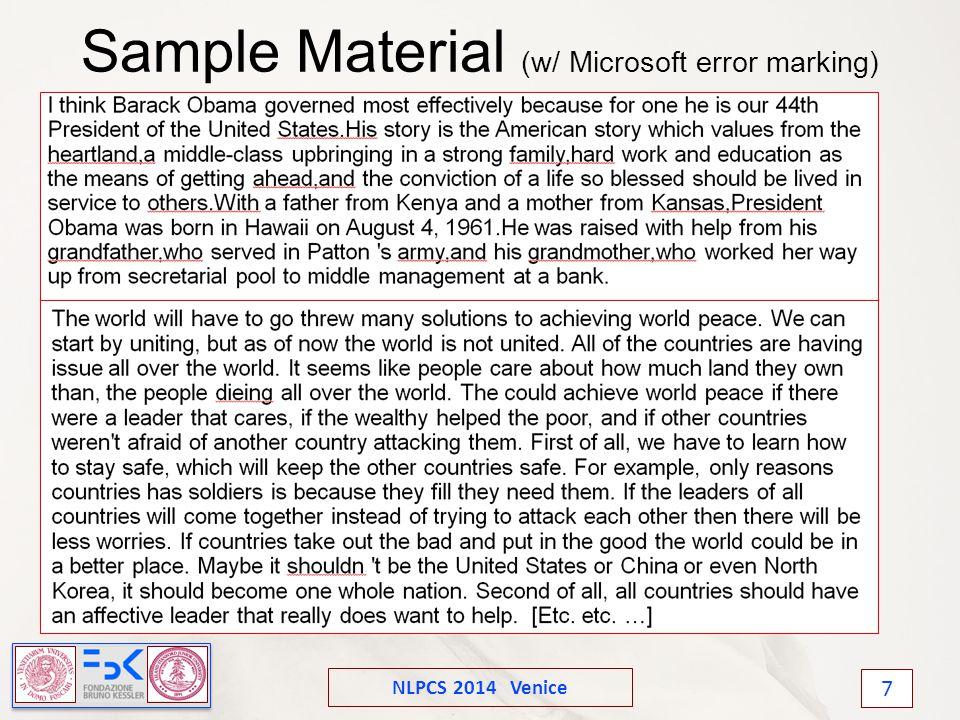 NLPCS 2014 Venice 7 Sample Material (w/ Microsoft error marking)