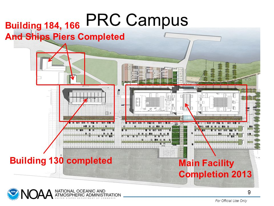 For Official Use Only PRC Campus 9 Building 184, 166 And Ships Piers Completed Building 130 completed Main Facility Completion 2013
