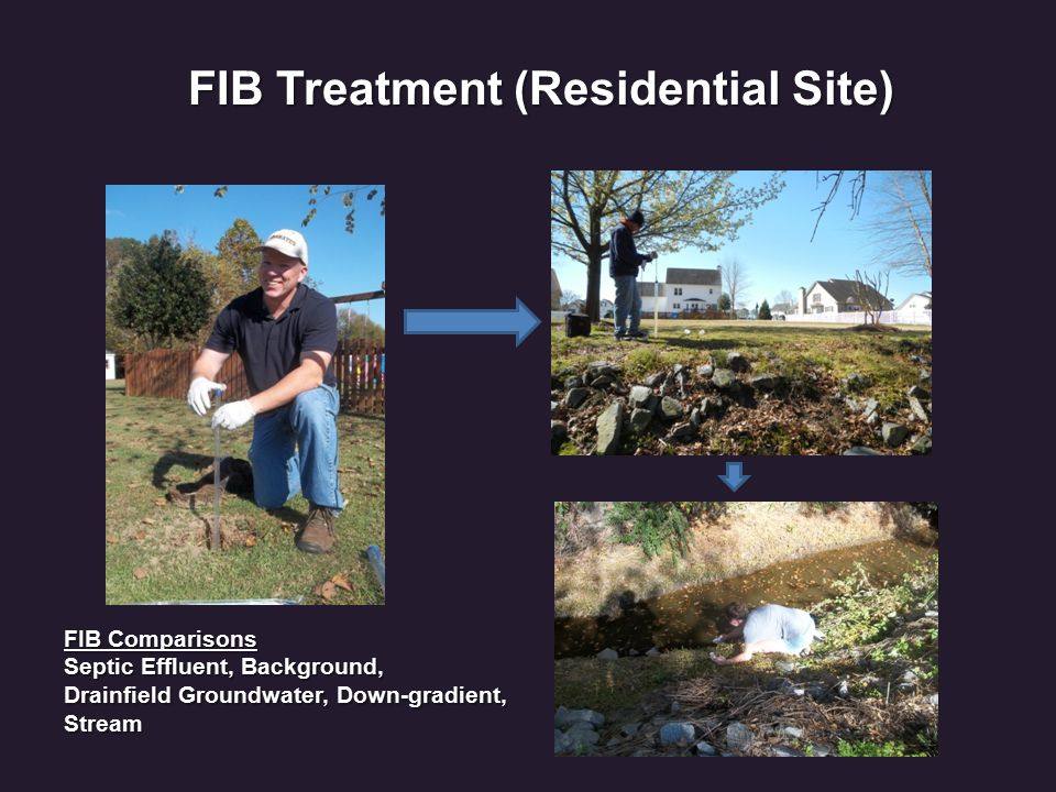 FIB Treatment (Residential Site) FIB Comparisons Septic Effluent, Background, Drainfield Groundwater, Down-gradient, Stream