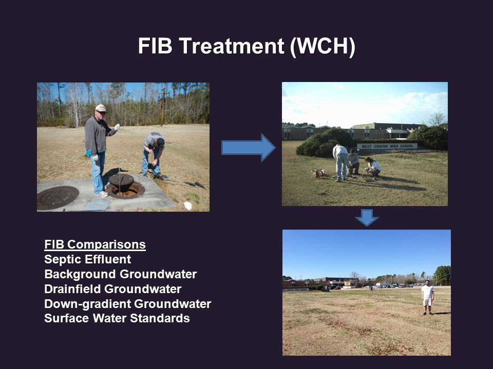 FIB Treatment (WCH) FIB Comparisons Septic Effluent Background Groundwater Drainfield Groundwater Down-gradient Groundwater Surface Water Standards