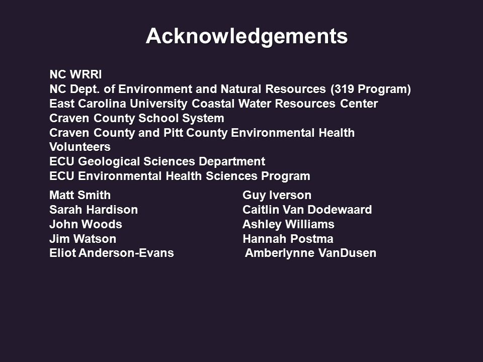 Acknowledgements Matt Smith Guy Iverson Sarah HardisonCaitlin Van Dodewaard John WoodsAshley Williams Jim WatsonHannah Postma Eliot Anderson-Evans Amberlynne VanDusen NC WRRI NC Dept.