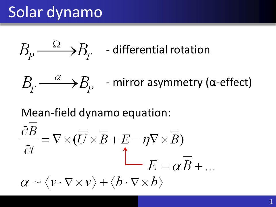 Vu Pham Solar dynamo 1 - differential rotation - mirror asymmetry (α-effect) Mean-field dynamo equation: