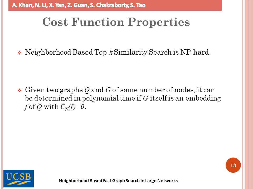 Neighborhood Based Fast Graph Search in Large Networks 13 Cost Function Properties  Neighborhood Based Top- k Similarity Search is NP-hard.