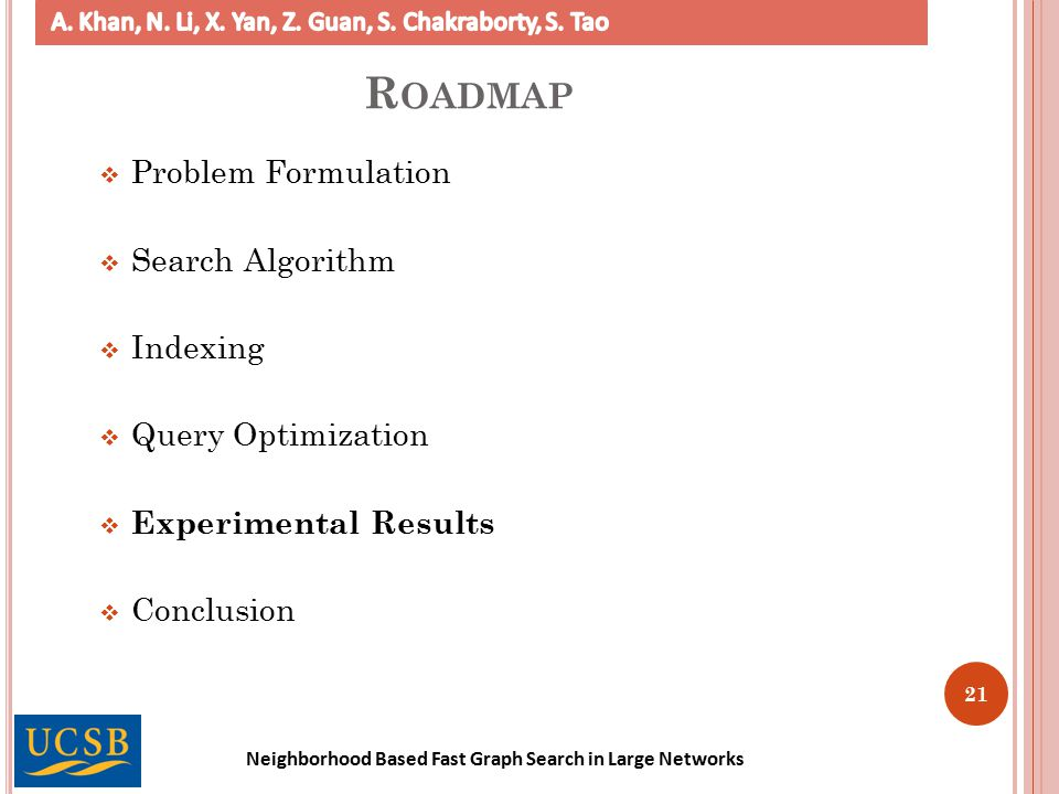 Neighborhood Based Fast Graph Search in Large Networks 21 R OADMAP  Problem Formulation  Search Algorithm  Indexing  Query Optimization  Experimental Results  Conclusion