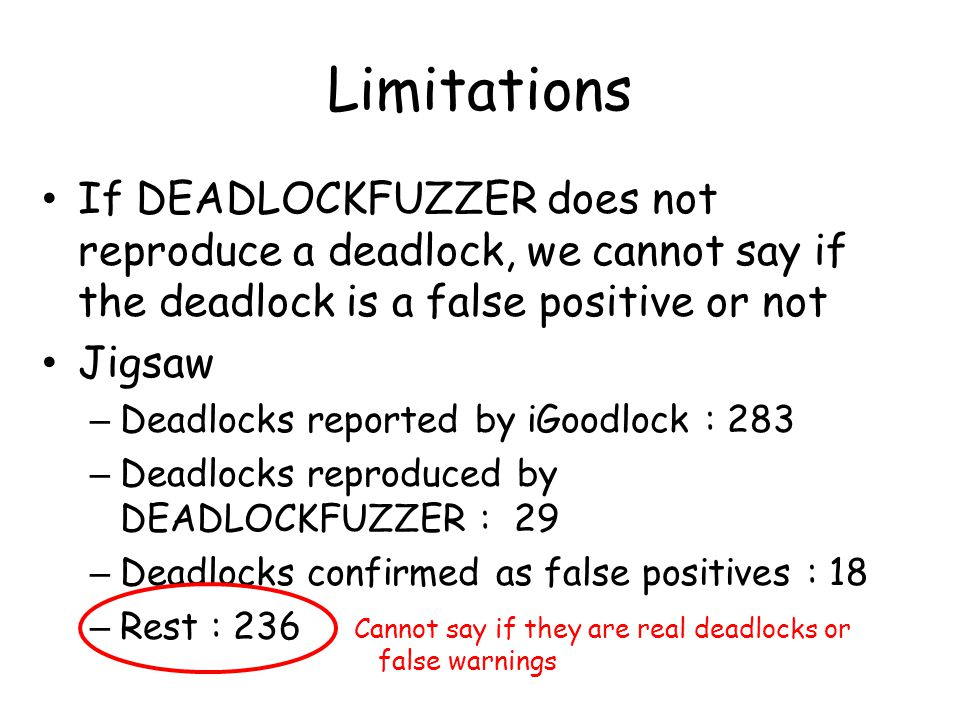 Limitations If DEADLOCKFUZZER does not reproduce a deadlock, we cannot say if the deadlock is a false positive or not Jigsaw – Deadlocks reported by iGoodlock : 283 – Deadlocks reproduced by DEADLOCKFUZZER : 29 – Deadlocks confirmed as false positives : 18 – Rest : 236 Cannot say if they are real deadlocks or false warnings