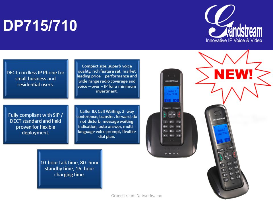 Grandstream Networks, Inc DP715/710 DECT cordless IP Phone for small business and residential users.