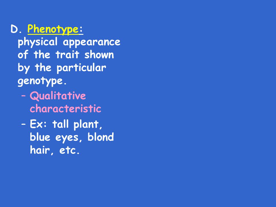 D. Phenotype: physical appearance of the trait shown by the particular genotype. –Qualitative characteristic –Ex: tall plant, blue eyes, blond hair, e
