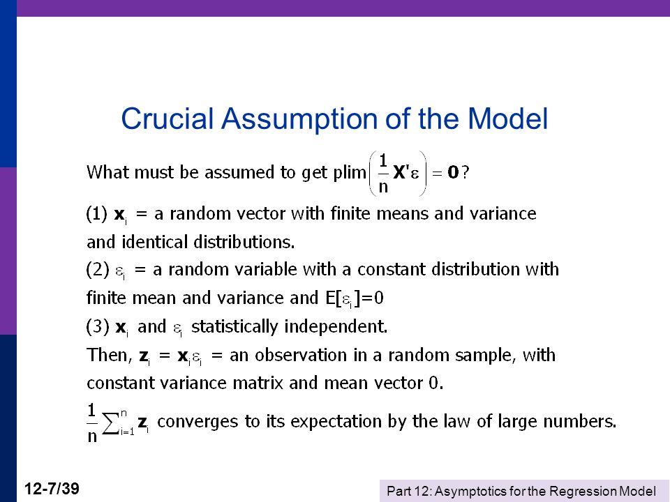 Part 12: Asymptotics for the Regression Model 12-38/39 Computations Matrix C is 5 rows by 1 columns.