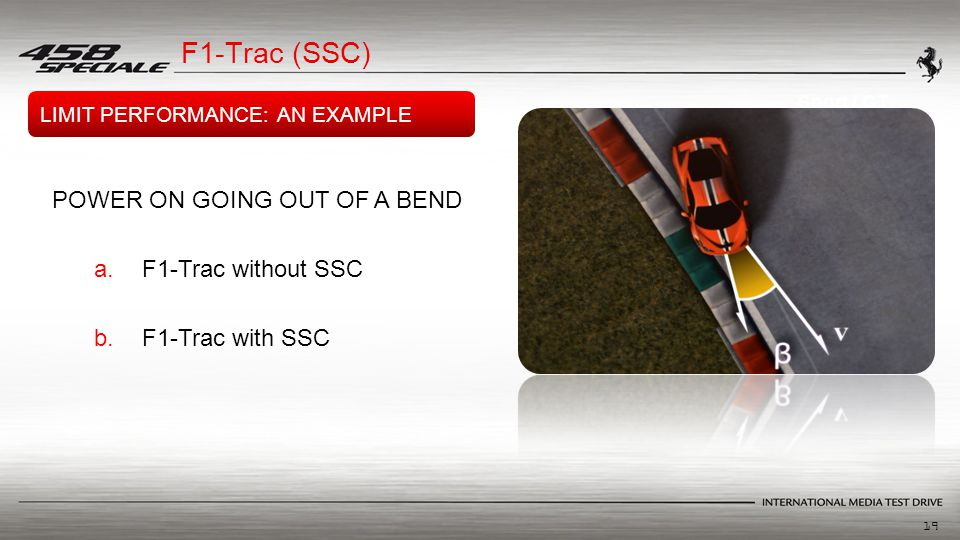 19 Sport / GT POWER ON GOING OUT OF A BEND a.F1-Trac without SSC b.F1-Trac with SSC LIMIT PERFORMANCE: AN EXAMPLE F1-Trac (SSC)