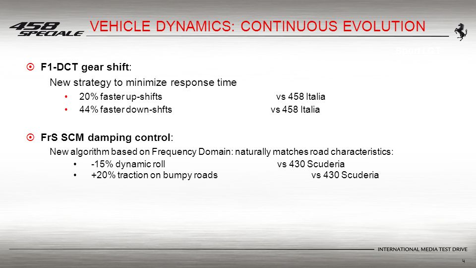 4  F1-DCT gear shift: New strategy to minimize response time 20% faster up-shifts vs 458 Italia 44% faster down-shfts vs 458 Italia  FrS SCM damping control: New algorithm based on Frequency Domain: naturally matches road characteristics: -15% dynamic roll vs 430 Scuderia +20% traction on bumpy roadsvs 430 Scuderia Sport / GT VEHICLE DYNAMICS: CONTINUOUS EVOLUTION