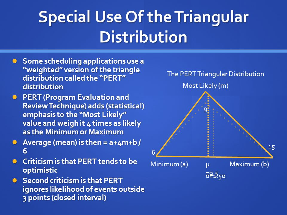 Special Use Of the Triangular Distribution Some scheduling applications use a weighted version of the triangle distribution called the PERT distribution Some scheduling applications use a weighted version of the triangle distribution called the PERT distribution PERT (Program Evaluation and Review Technique) adds (statistical) emphasis to the Most Likely value and weigh it 4 times as likely as the Minimum or Maximum PERT (Program Evaluation and Review Technique) adds (statistical) emphasis to the Most Likely value and weigh it 4 times as likely as the Minimum or Maximum Average (mean) is then = a+4m+b / 6 Average (mean) is then = a+4m+b / 6 Criticism is that PERT tends to be optimistic Criticism is that PERT tends to be optimistic Second criticism is that PERT ignores likelihood of events outside 3 points (closed interval) Second criticism is that PERT ignores likelihood of events outside 3 points (closed interval) Minimum (a)Maximum (b) Most Likely (m) 6 9 15 μ =9.5 The PERT Triangular Distribution σ=1.50
