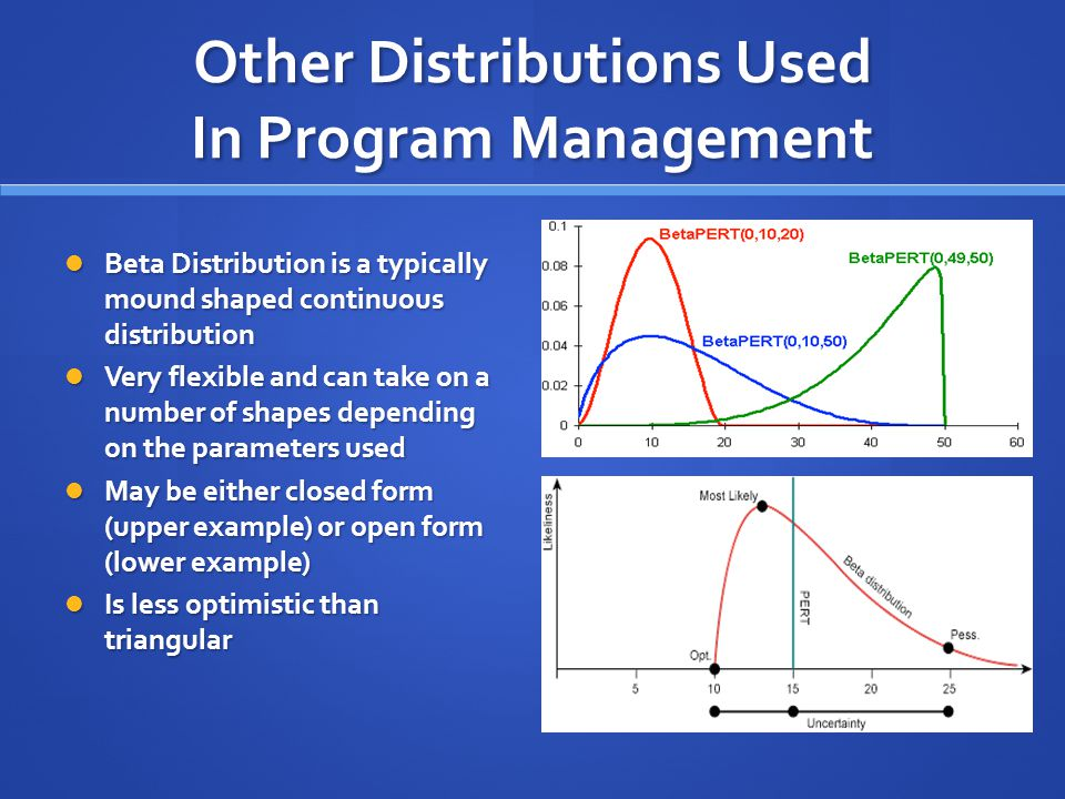 Other Distributions Used In Program Management Beta Distribution is a typically mound shaped continuous distribution Beta Distribution is a typically mound shaped continuous distribution Very flexible and can take on a number of shapes depending on the parameters used Very flexible and can take on a number of shapes depending on the parameters used May be either closed form (upper example) or open form (lower example) May be either closed form (upper example) or open form (lower example) Is less optimistic than triangular Is less optimistic than triangular
