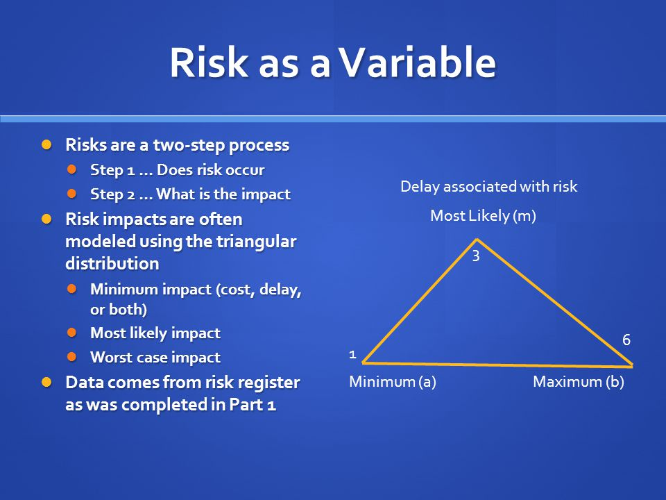 Risk as a Variable Risks are a two-step process Risks are a two-step process Step 1 … Does risk occur Step 1 … Does risk occur Step 2 … What is the impact Step 2 … What is the impact Risk impacts are often modeled using the triangular distribution Risk impacts are often modeled using the triangular distribution Minimum impact (cost, delay, or both) Minimum impact (cost, delay, or both) Most likely impact Most likely impact Worst case impact Worst case impact Data comes from risk register as was completed in Part 1 Data comes from risk register as was completed in Part 1 Minimum (a)Maximum (b) Most Likely (m) 1 3 6 Delay associated with risk