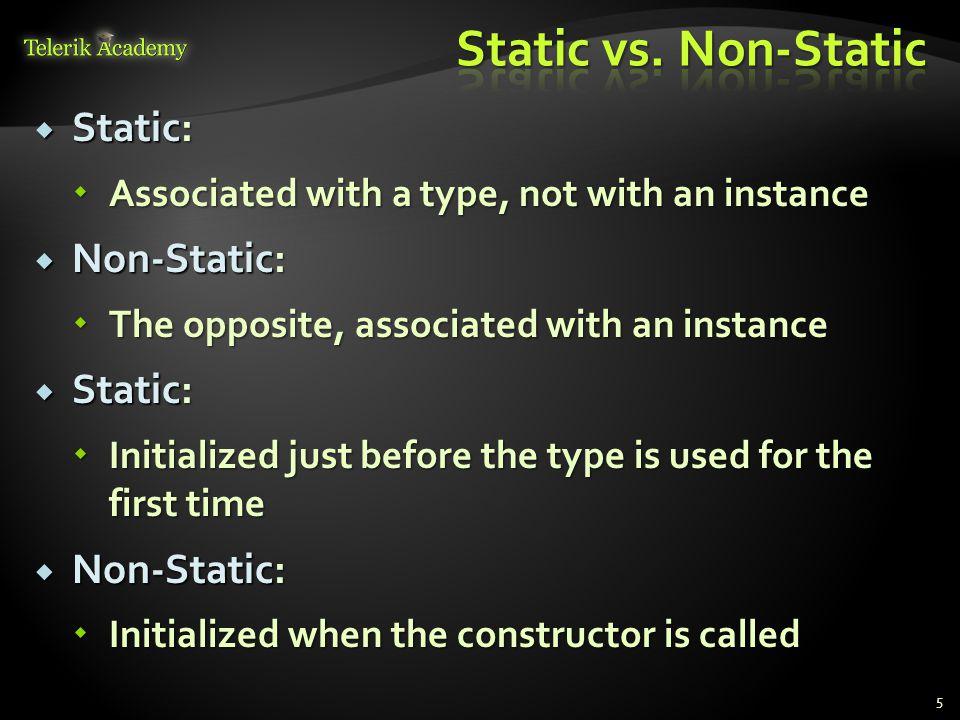 static class SqrtPrecalculated { public const int MAX_VALUE = 10000; public const int MAX_VALUE = 10000; // Static field // Static field private static int[] sqrtValues; private static int[] sqrtValues; // Static constructor // Static constructor static SqrtPrecalculated() static SqrtPrecalculated() { sqrtValues = new int[MAX_VALUE + 1]; sqrtValues = new int[MAX_VALUE + 1]; for (int i = 0; i < sqrtValues.Length; i++) for (int i = 0; i < sqrtValues.Length; i++) { sqrtValues[i] = (int)Math.Sqrt(i); sqrtValues[i] = (int)Math.Sqrt(i); } } (example continues) 6