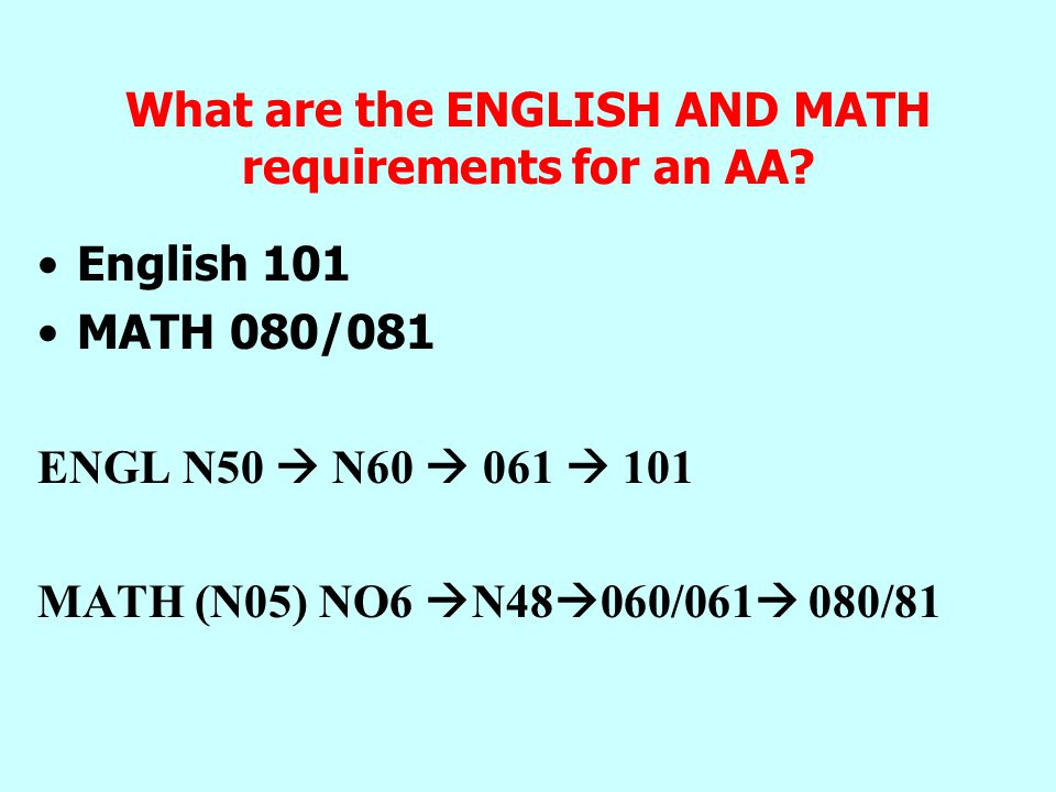 What are the ENGLISH AND MATH requirements for an AA.