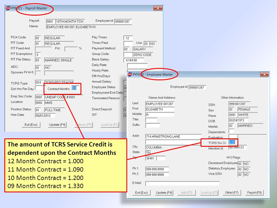 TCRS Concord Project Reporting Process – Step 3 Department Report Add-On Maintenance employee