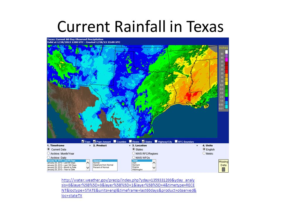 Current Rainfall in Texas http://water.weather.gov/precip/index.php?yday=1359331200&yday_analy sis=0&layer%5B%5D=0&layer%5B%5D=1&layer%5B%5D=4&timetyp