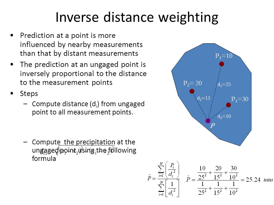 Inverse distance weighting P 1 =10 P 2 = 20 P 3 =30 Prediction at a point is more influenced by nearby measurements than that by distant measurements