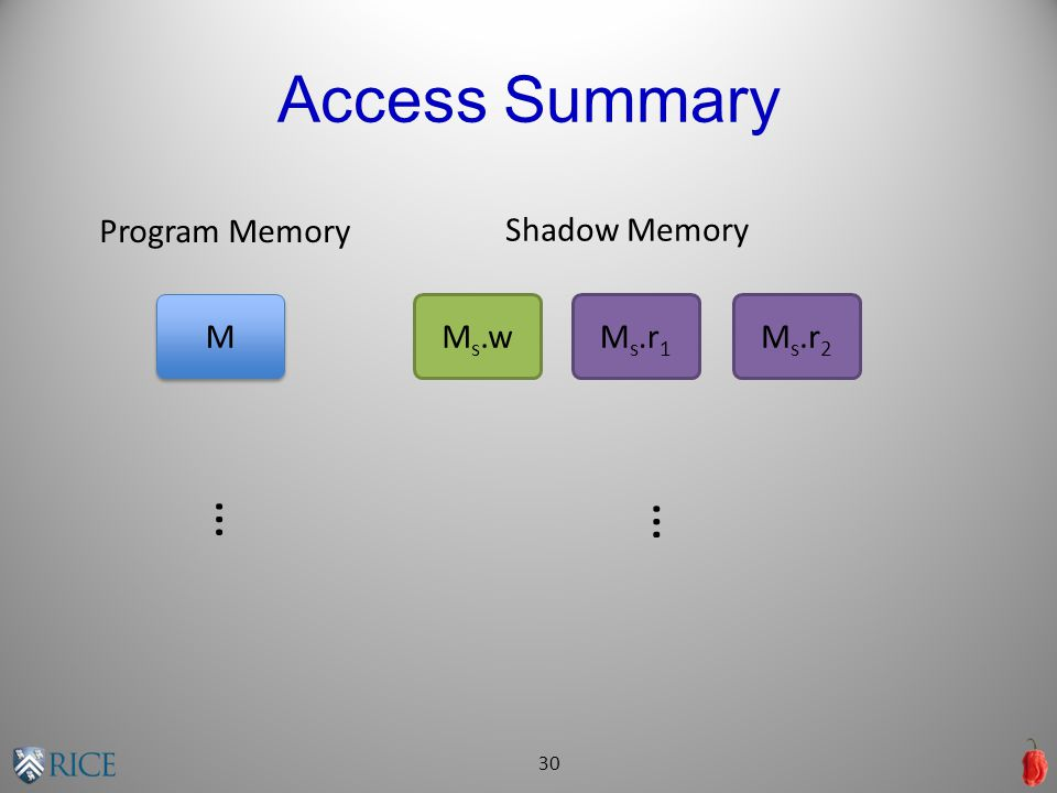 Access Summary 30 Program Memory M M M s.wM s.r 1 M s.r 2 Shadow Memory … …