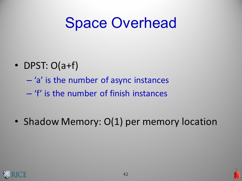 Space Overhead DPST: O(a+f) – 'a' is the number of async instances – 'f' is the number of finish instances Shadow Memory: O(1) per memory location 42