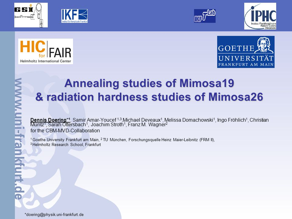 /23 Annealing studies with combined radiation irradiated MAPS 12 Sensors and irradiation Used chips: Mimosa19 developed by IPHC Strasbourg.