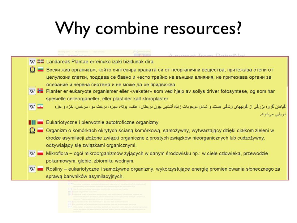 Why combine resources A synset from BabelNet for plant (living organism)