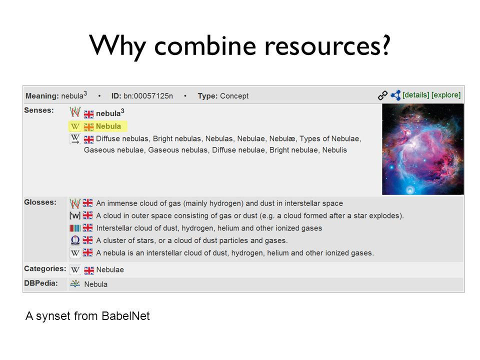 Why combine resources? A synset from BabelNet for plant (living organism) a case example BabelNet