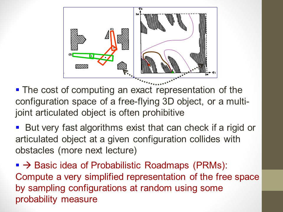  The cost of computing an exact representation of the configuration space of a free-flying 3D object, or a multi- joint articulated object is often prohibitive  But very fast algorithms exist that can check if a rigid or articulated object at a given configuration collides with obstacles (more next lecture)   Basic idea of Probabilistic Roadmaps (PRMs): Compute a very simplified representation of the free space by sampling configurations at random using some probability measure
