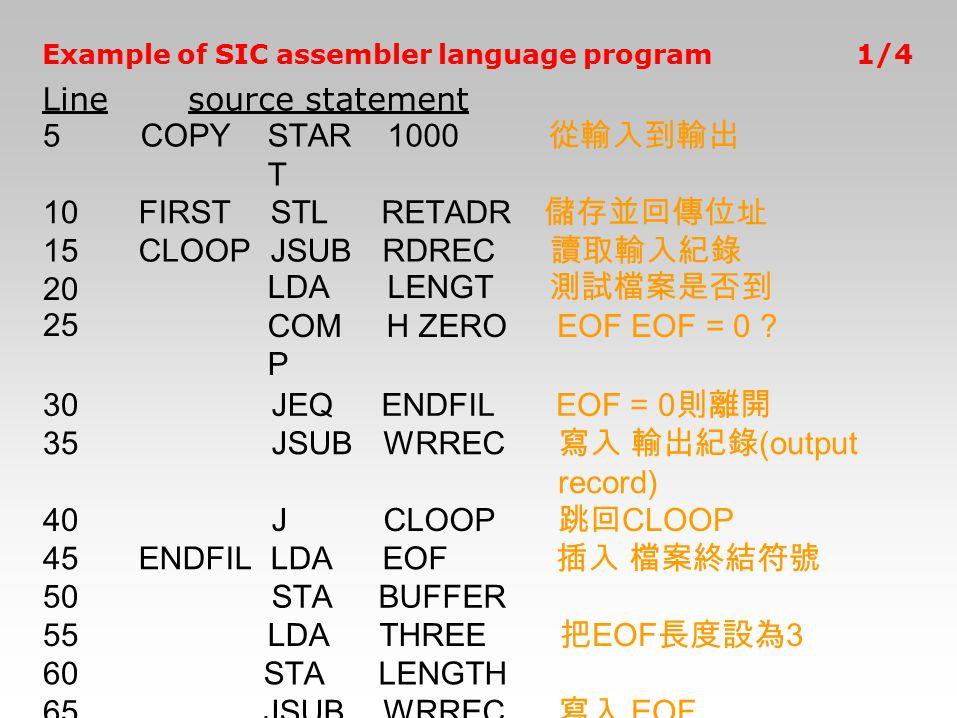 Example of SIC assembler language program Linesource statement 1/4 5COPYSTAR T 1000 從輸入到輸出 10FIRSTSTLRETADR 儲存並回傳位址 15CLOOPJSUBRDREC 讀取輸入紀錄 20 25 LDA
