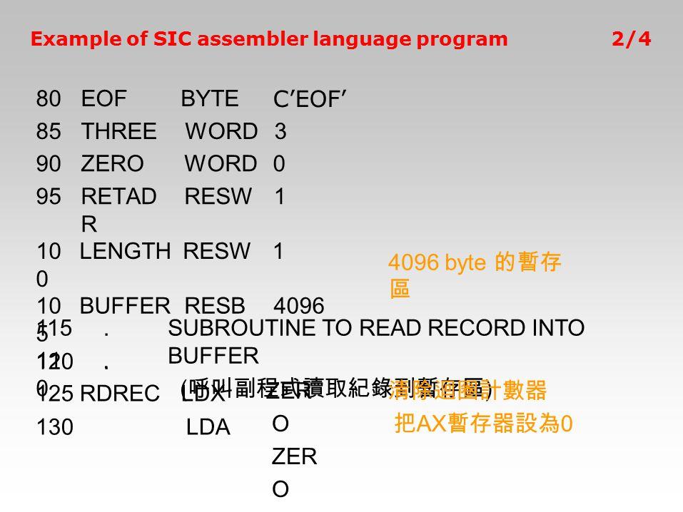 4096 byte 的暫存 區 115. 120. SUBROUTINE TO READ RECORD INTO BUFFER ( 呼叫副程式讀取紀錄到暫存區 ) 125RDRECLDX 130LDA ZER O 80EOFBYTE C'EOF' 85THREEWORD3 90ZEROWORD0 9