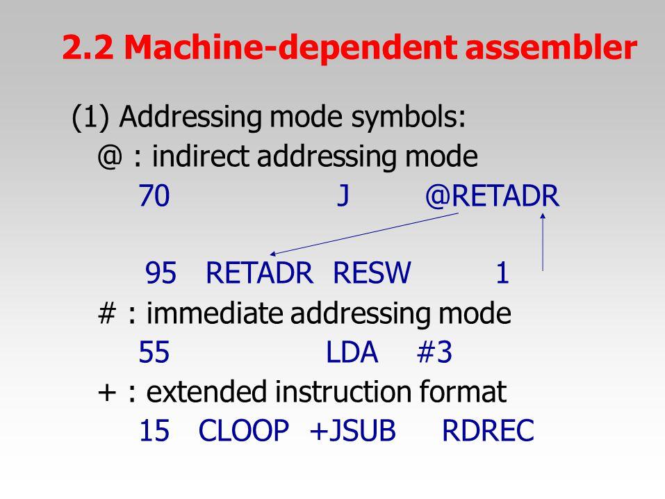 (1) Addressing mode symbols: @ : indirect addressing mode 70J@RETADR 95RETADRRESW1 # : immediate addressing mode 55LDA#3 + : extended instruction form