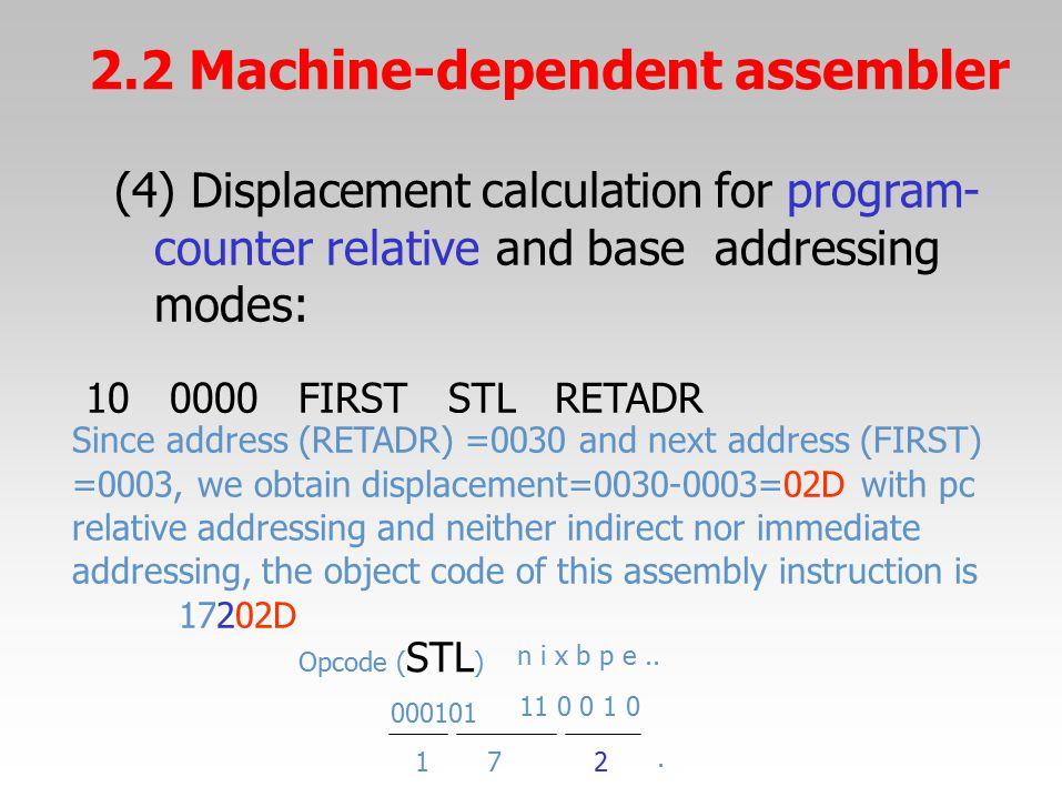 (4) Displacement calculation for program- counter relativeand baseaddressing modes: 100000FIRSTSTLRETADR Since address (RETADR) =0030 and next address